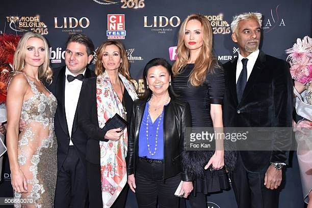 Laura Messia Jeremy Urbain from Top Model Belgium Ingrid Chauvin Jeanne d'Hauteserre Adriana Karembeu and Satya Oblette attend the 'Top Model Belgium...