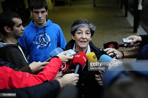 Laura Mintegi candidate of proindependence Basque political parties coalition Euskal Herria Bildu speaks to journalists after voting on October 21 in...