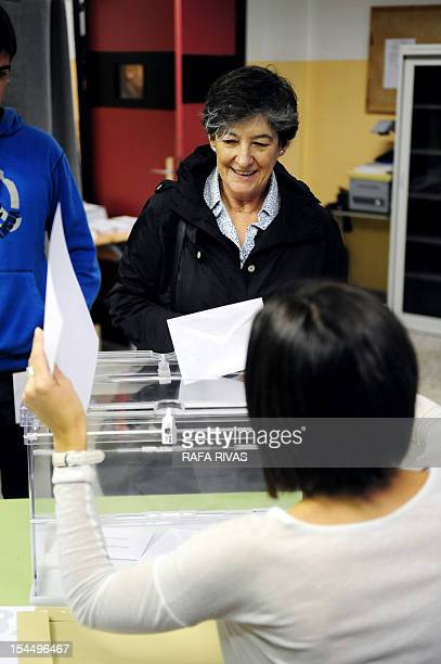 Laura Mintegi candidate of proindependence Basque political parties coalition Euskal Herria Bildu casts her ballot at a polling station in the...