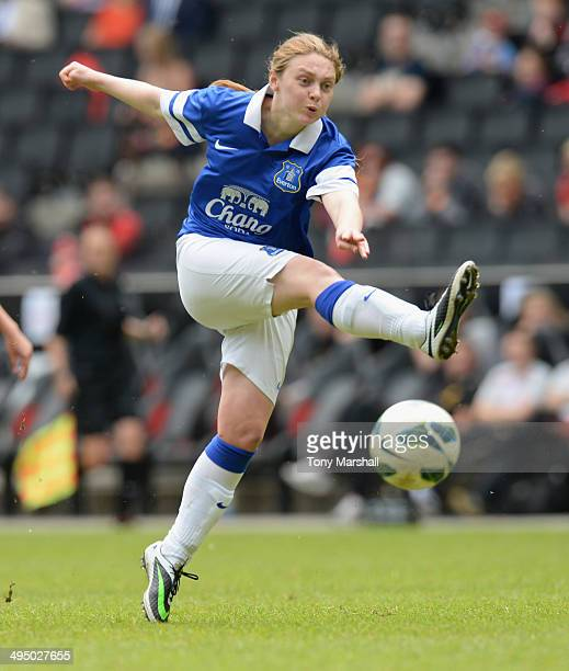 Laura Mitchell of Everton Ladies has a shot at goal during the FA Girl's Youth Cup Final between Everton Ladies and Liverpool Ladies at Stadium mk on...