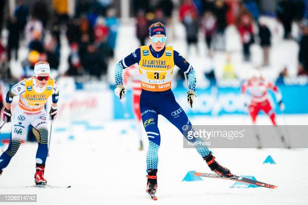 Laura Mononen competes during the women's relay 4x5.0 km of the FIS Cross Country World Cup in Lahti, Finland, on March 1, 2020.