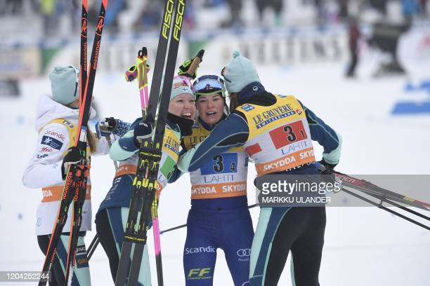 Laura Mononen Kerttu Niskanen Krista Pärmäkoski and Johanna Matintalo of team Finland celebrate after the women's crosscountry skiing 4x5km relay...