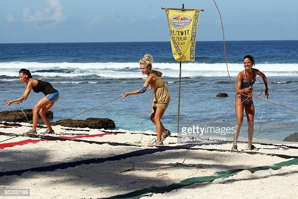 Laura Morett Natalie White and Monica Padilla during the immunity challenge Square Peg Round Hole during the ninth episode of SURVIVOR SAMOA Thursday...
