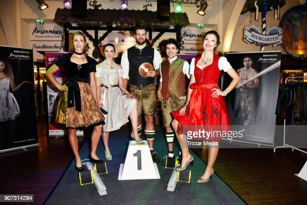 Laura Mueller Alexandra Burghardt Martin Wierig Timo Benitz and Ruth Sophia Spelmeyer attend the Angermaier Weisswurst Party on January 18 2018 in...