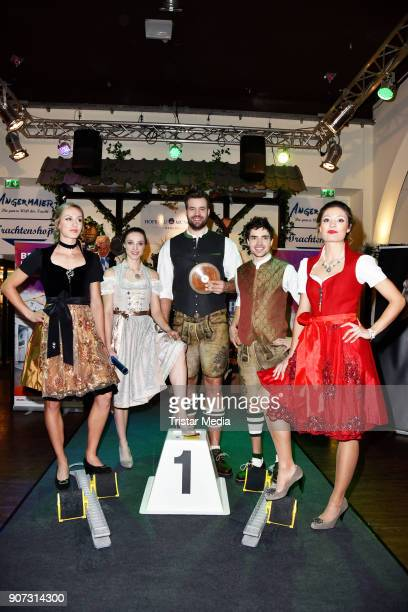 Laura Mueller Alexandra Burghardt Martin Wierig Timo Benitz and Ruth Sophia Spelmeyer attend the Angermeier Weisswurst Party on January 18 2018 in...