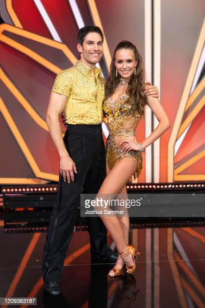 Laura Mueller and Christian Polanc are seen on stage during the 1st show of the 13th season of the television competition Let's Dance on February 28...
