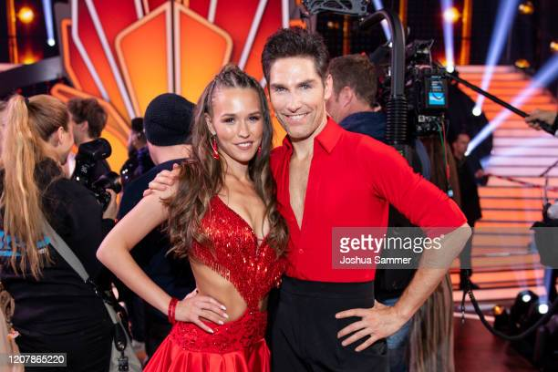 Laura Mueller and Christian Polanc are seen on stage during the preshow Wer tanzt mit wem Die grosse Kennenlernshow for the television competition...