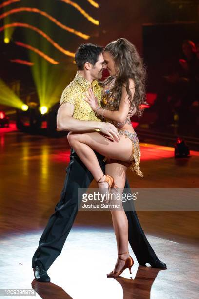 Laura Mueller and Christian Polanc perform on stage during the 1st show of the 13th season of the television competition Let's Dance on February 28...