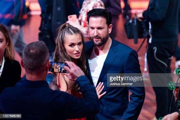 Laura Mueller and Michael Wendler are seen on stage during the preshow Wer tanzt mit wem Die grosse Kennenlernshow of the television competition...