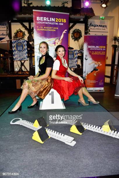 Laura Mueller and Ruth Sophia Spelmeyer attend the Angermeier Weisswurst Party on January 18 2018 in Berlin Germany