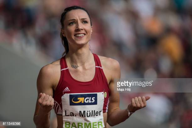 Laura Mueller celebrates after winning 200 Meter women's Final at day 2 of the German Championships in Athletics at Steigerwaldstadion on July 9 2017...