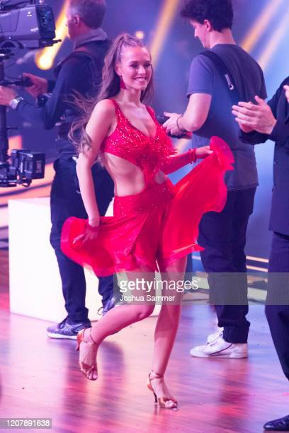 Laura Mueller is seen on stage during the preshow Wer tanzt mit wem Die grosse Kennenlernshow of the television competition Let's Dance on February...