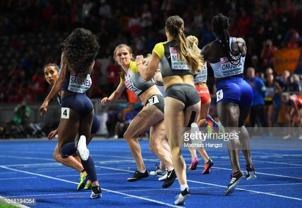 Laura Mueller of Germany hands the batton over to Karolina Pahlitzsch of Germany during the Women's 4x400m Relay race during day five of the 24th...