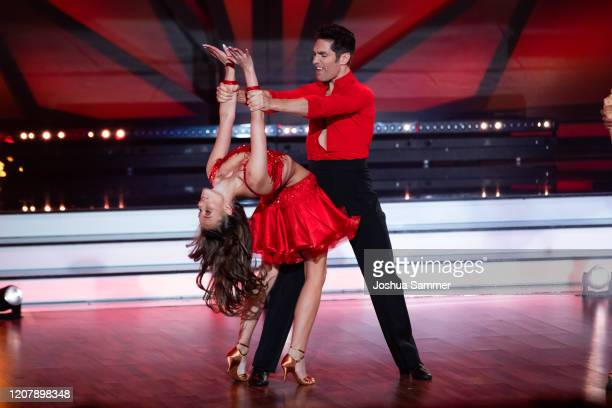 Laura Mueller performs on stage during the preshow Wer tanzt mit wem Die grosse Kennenlernshow of the television competition Let's Dance on February...