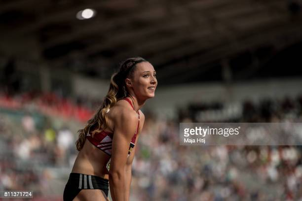 Laura Mueller reacts after winning 200 Meter women's Final at day 2 of the German Championships in Athletics at Steigerwaldstadion on July 9 2017 in...