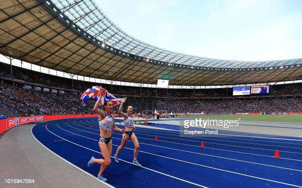 Laura Muir and Laura Weightman of Great Britain celebrate their gold and silver medals in the Women's 1500m final during day six of the 24th European...