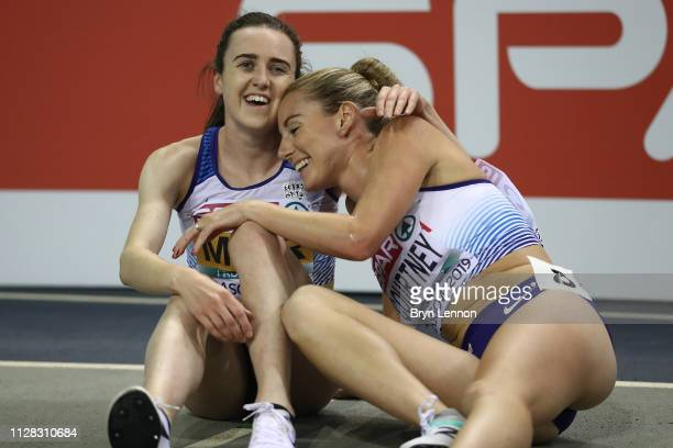 Laura Muir and Melissa Courtney of Great Britain celebrate winning medals in the final of the women's 3000m on day one of the 2019 European Athletics...