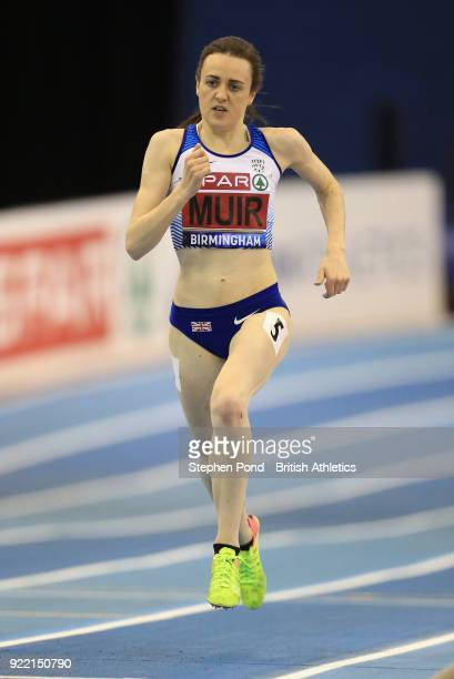 Laura Muir of Dundee Hawkhill Harriers in action in the women's 3000m final during day one of the SPAR British Athletics Indoor Championships at...