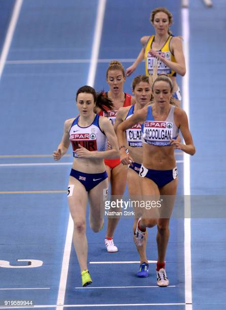 Laura Muir of Dundee Hawkhill Harriers wins the women's 3000m final during the SPAR British Athletics Indoor Championships at Arena Birmingham on...