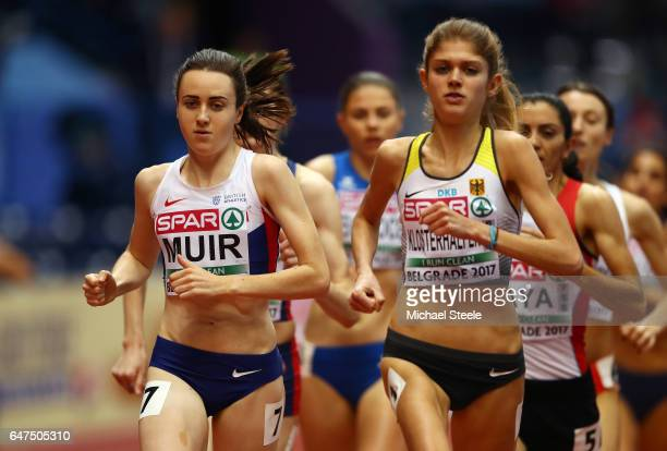 Laura Muir of Great Britain and Konstanze Klosterhalfen of Germany competes in the Women's 1500 metres heats on day one of the 2017 European...