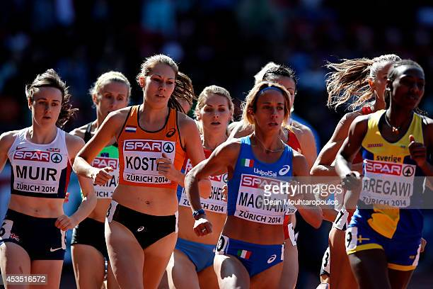 Laura Muir of Great Britain and Northern Ireland Maureen Koster of the Netherlands and Margherita Magnani of Italy compete in the Women's 1500 metres...