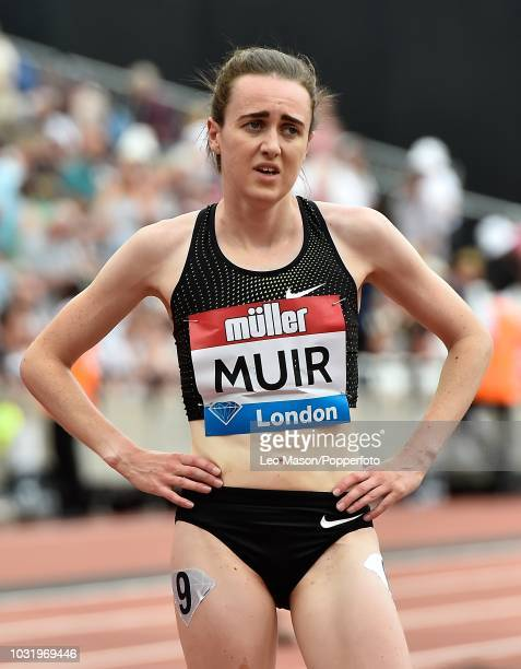 Laura Muir of Great Britain at the finish of the Millicent Fawcett One Mile race at IAAF Diamond League Muller Anniversary Games at The Queen...