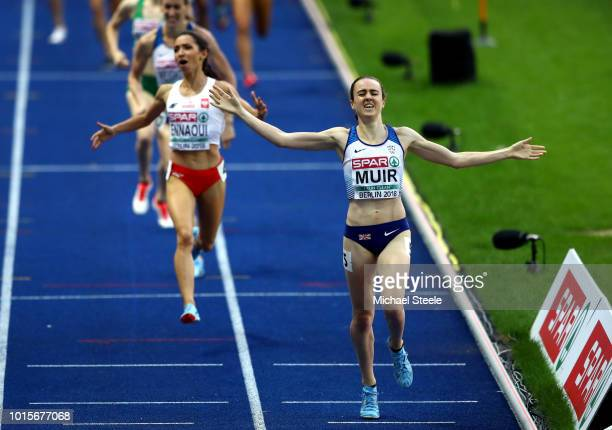 Laura Muir of Great Britain celebrates as she crosses the line to win the gold medal in the Women's 1500m Final during day six of the 24th European...