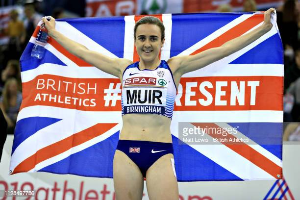 Laura Muir of Great Britain celebrates her win in the final of the Womens 3000m during Day One of the SPAR British Athletics Indoor Championships at...