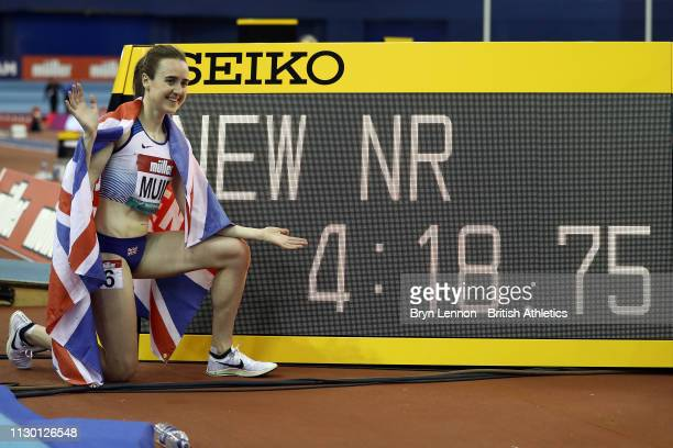 Laura Muir of Great Britain celebrates setting a new British Indoor record during the Muller Indoor Grand Prix IAAF World Indoor Tour event at Arena...