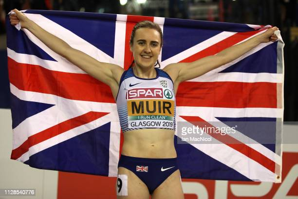 Laura Muir of Great Britain celebrates winning gold in the final of the women's 1500m on day three of the 2019 European Athletics Indoor...