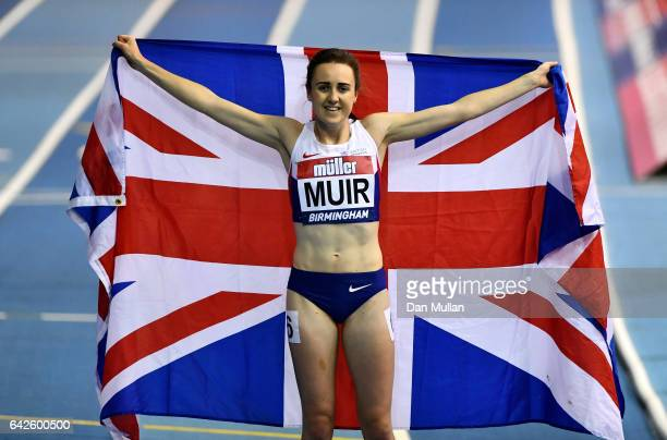Laura Muir of Great Britain celebrates winning the women's 1000 metres final during the Muller Indoor Grand Prix 2017 at Barclaycard Arena on...