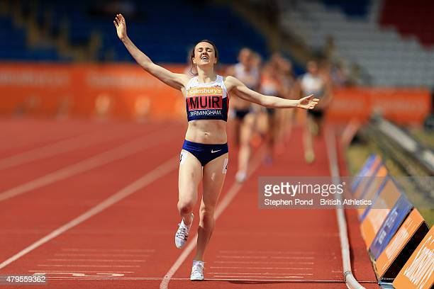 Laura Muir of Great Britain celebrates winning the women's 1500m during day three of the Sainsbury's British Championships at Alexander Stadium on...