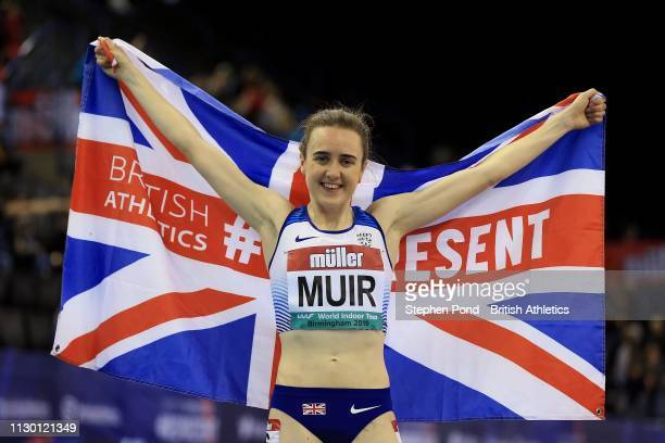 Laura Muir of Great Britain celebrates winning the Women's One Mile in a new British record time during the Muller Indoor Grand Prix IAAF World...