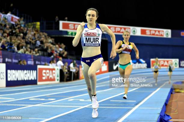 Laura Muir of Great Britain competes in the final of the Womens 3000m during Day One of the SPAR British Athletics Indoor Championships at Arena...