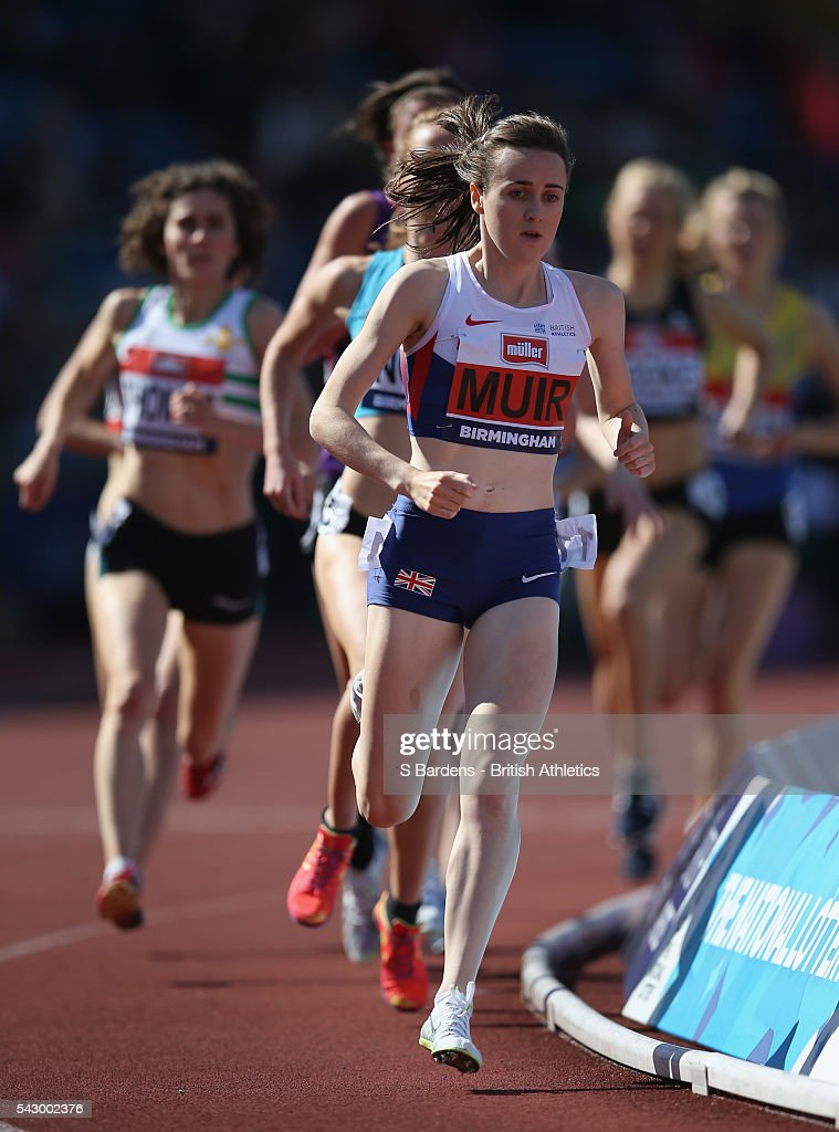 Laura Muir of Great Britain competes in the women's 1500m heats on day two of the British Championships Birmingham at Alexander Stadium on June 25, 2016 in Birmingham, England.
