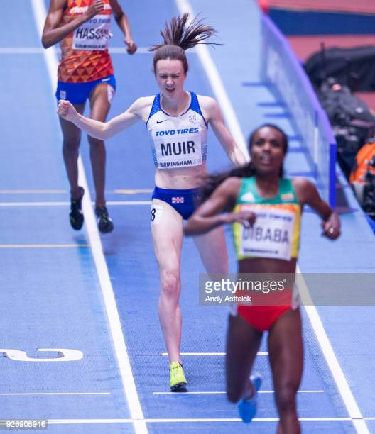 Laura Muir of Great Britain crosses the line in second position during the Women's 1500m Final on Day 3 of the IAAF World Indoor Championships at...