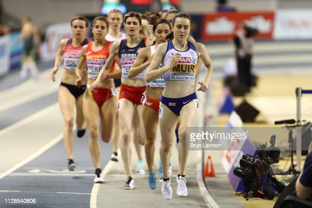 Laura Muir of Great Britain in action during the final of the women's 1500m on day three of the 2019 European Athletics Indoor Championships at...