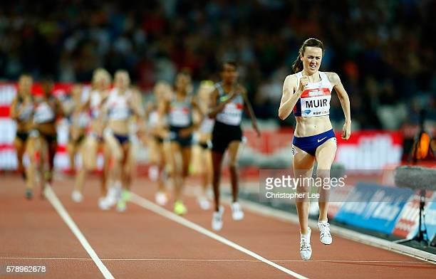 Laura Muir of Great Britain in action during the womens 1500m on Day One of the Muller Anniversary Games at The Stadium - Queen Elizabeth Olympic...
