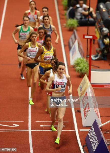 Laura Muir of Great Britain leads the field during the Women's 1500 metres final on day two of the 2017 European Athletics Indoor Championships at...