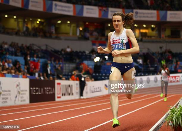 Laura Muir of Great Britain leads the field during the Women's 3000 metres final on day three of the 2017 European Athletics Indoor Championships at...