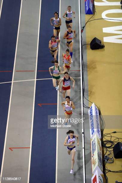 Laura Muir of Great Britain leads the pack during the final of the women's 1500m on day three of the 2019 European Athletics Indoor Championships at...