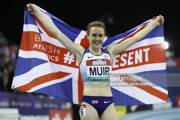 Laura Muir of Great Britain poses after winning the mile and setting a new British Indoor Record at the Muller Indoor Grand Prix at the Arena...
