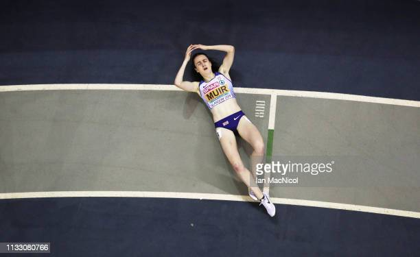 Laura Muir of Great Britain reacts after she wins the Women's 3000m final during Day One of The European Athletics Indoor Championships at Emirates...