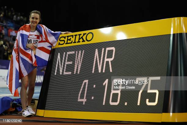 Laura Muir of Great Britain sets a new British indoor record winning the women's one mile during the Muller Indoor Grand Prix IAAF World Indoor Tour...
