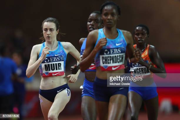 Laura Muir of Great Britain tracks Beatrice Chepkoech of Kenya in the women's 3000m race during the IAAF Diamond League Meeting Herculis on July 21...