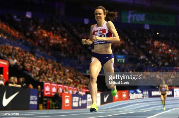 Laura Muir of Great Britain wins the women's 1000 metres final during the Muller Indoor Grand Prix 2017 at Barclaycard Arena on February 18 2017 in...