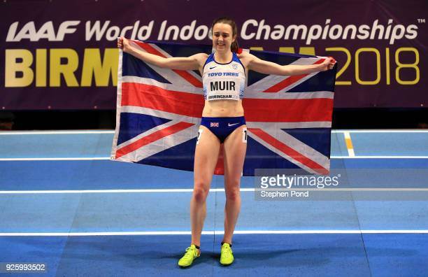 Laura Muir of Great Britian celebrates winning bronze in the womens 3000 metres final on Day One of the IAAF World Indoor Championships at Arena...