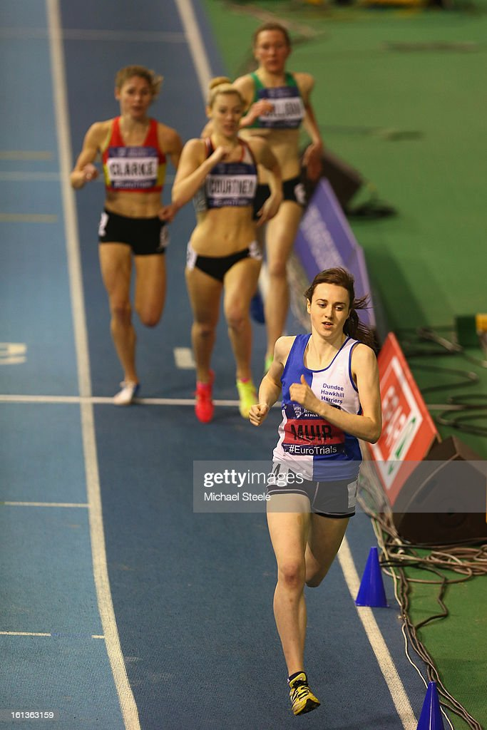 Laura Muir on her way to victory in the women's 1500m final during day two of the British Athletics European Trials & UK Championship at the English Institute of Sport on February 10, 2013 in Sheffield, England.