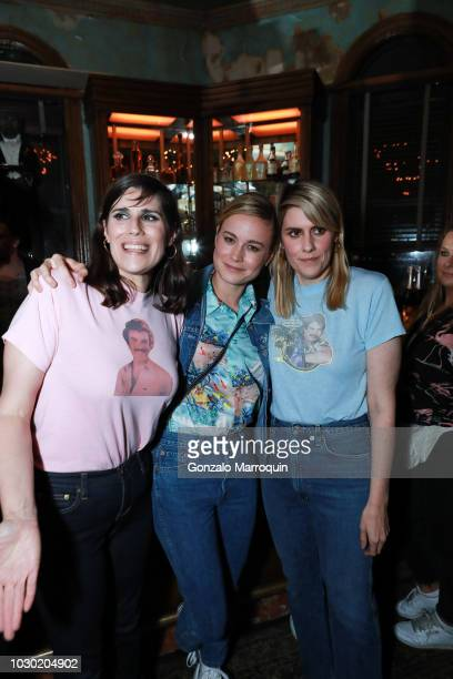 Laura Mulleavy, Brie Larson and Kate Mulleavy during the Rodarte SS19 After Party on September 9, 2018 in New York City.