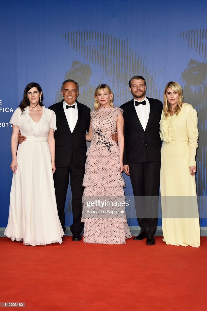 Laura Mulleavy, festival director Alberto Barbera, Kirsten Dunst, Pilou Asbaek and Kate Mulleavy walk the red carpet ahead of the 'Woodshock' screening during the 74th Venice Film Festival at Sala Giardino on September 4, 2017 in Venice, Italy.